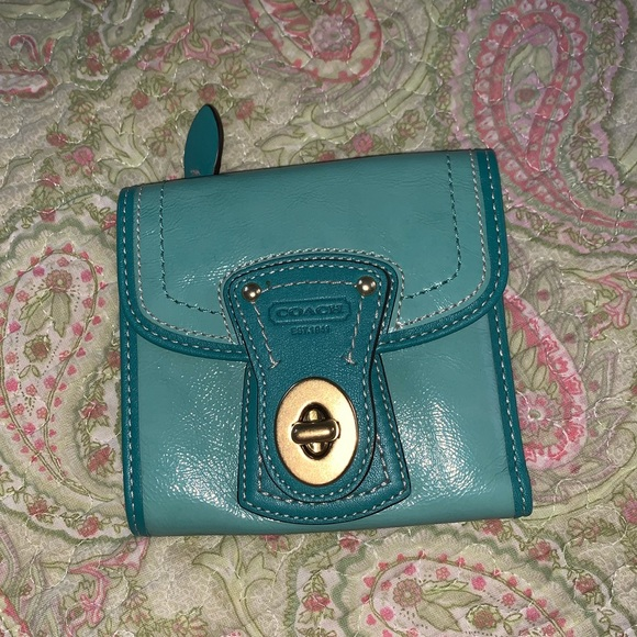 Coach Handbags - COACH trifold wallet in teal